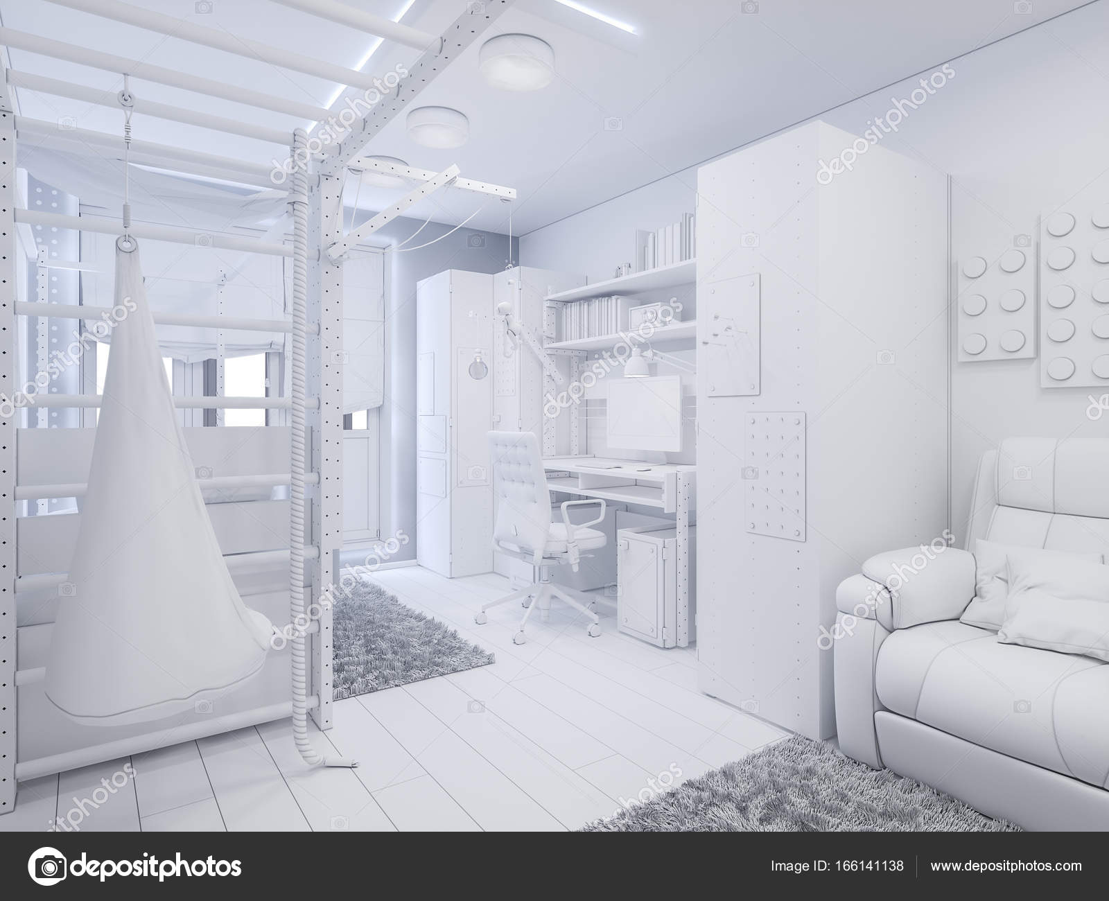 3d Illustration Childrens Room Interior Design Stock Photo C Richman21 166141138
