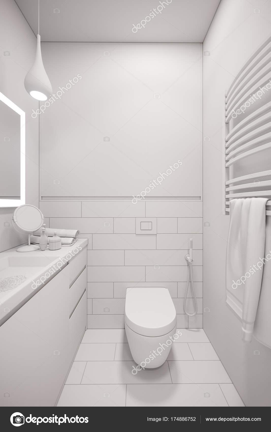 3d illustration of an interior design of a white minimalist bath ...