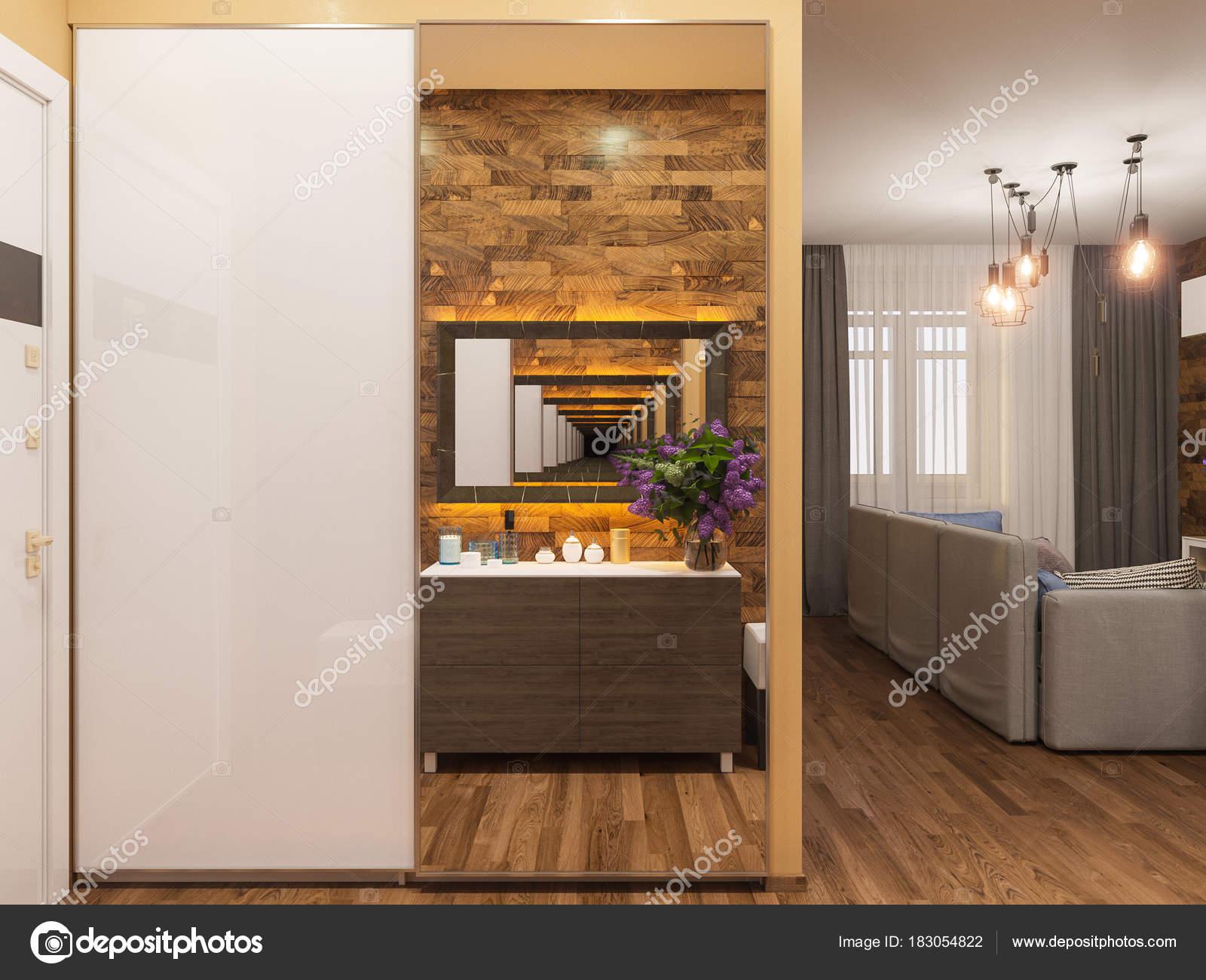 Architecturale render van de interieur gang in warme kleuren. 3D ...