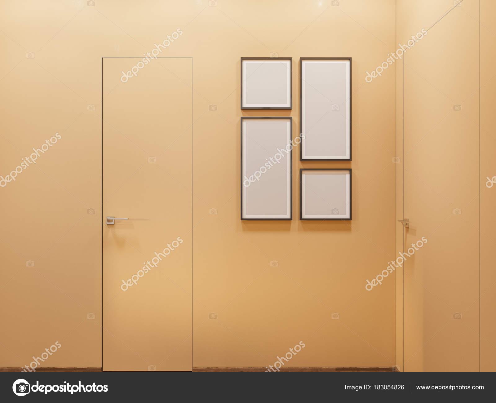 Architecturale render van de interieur corridor in warme kleuren