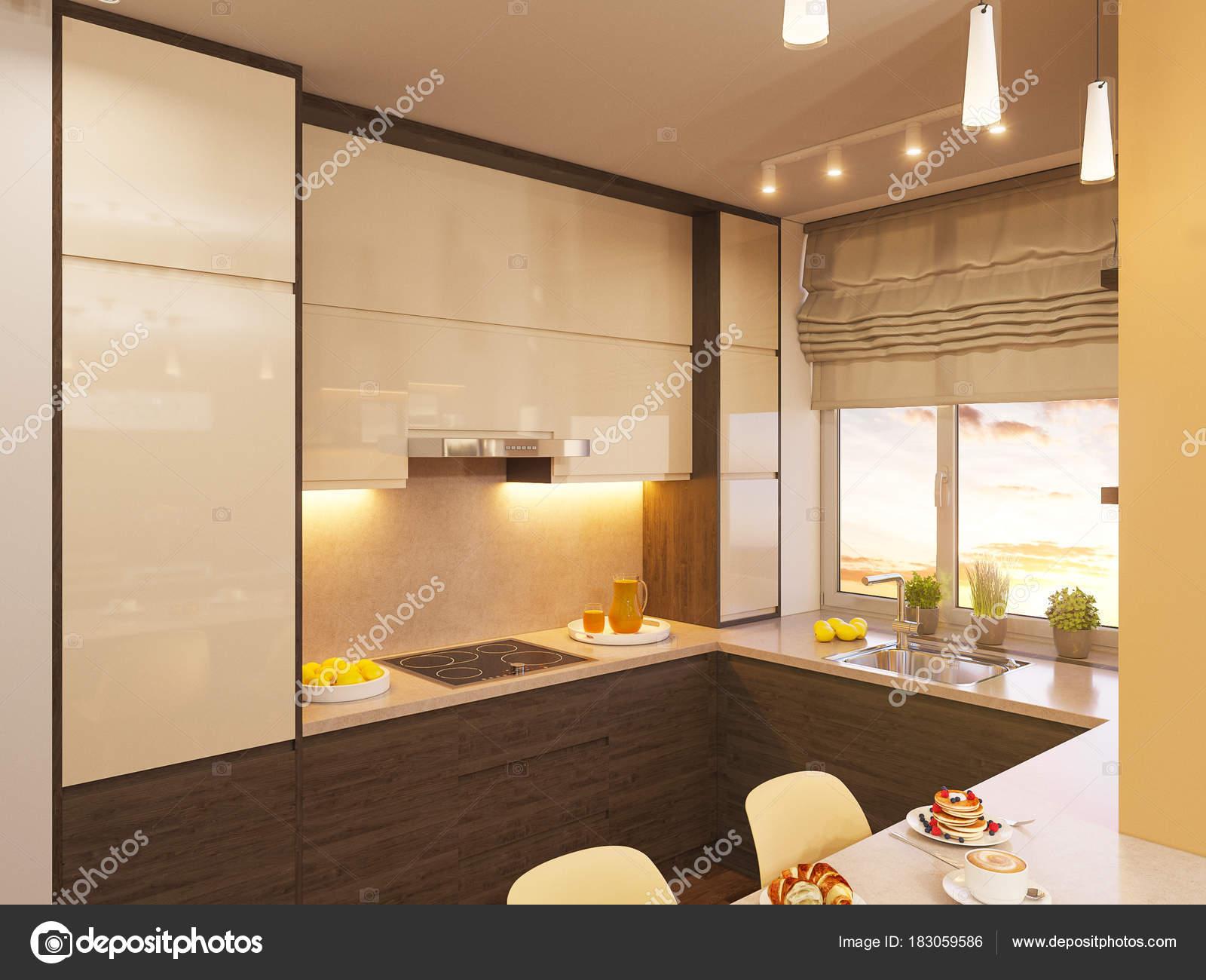 3d Ilustracja Wnętrz Kuchnia W Nowoczesnym Stylu