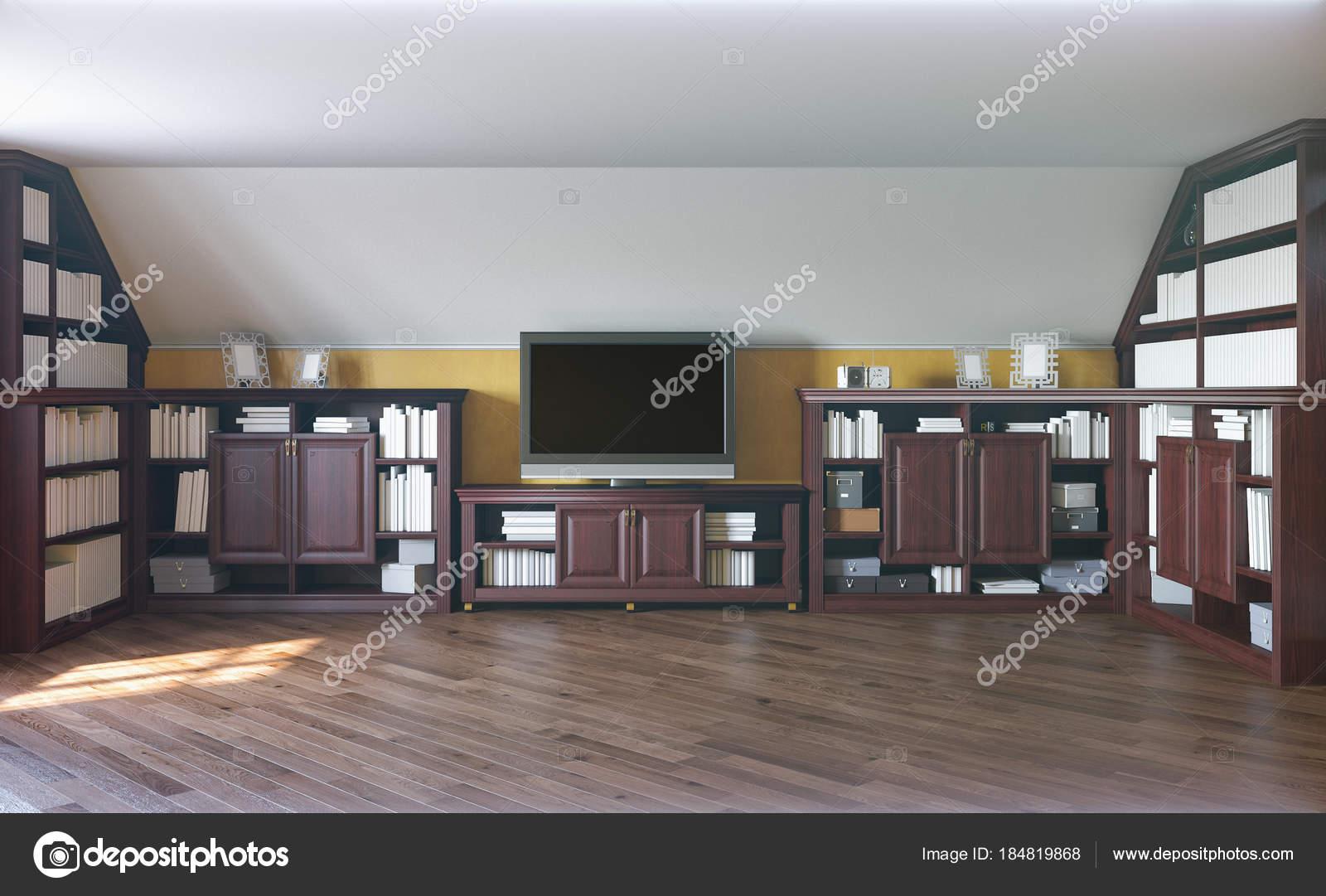 Natuurlijke Zolder Loft : 3d illustratie van een home bibliotheek op de zolder verdieping van