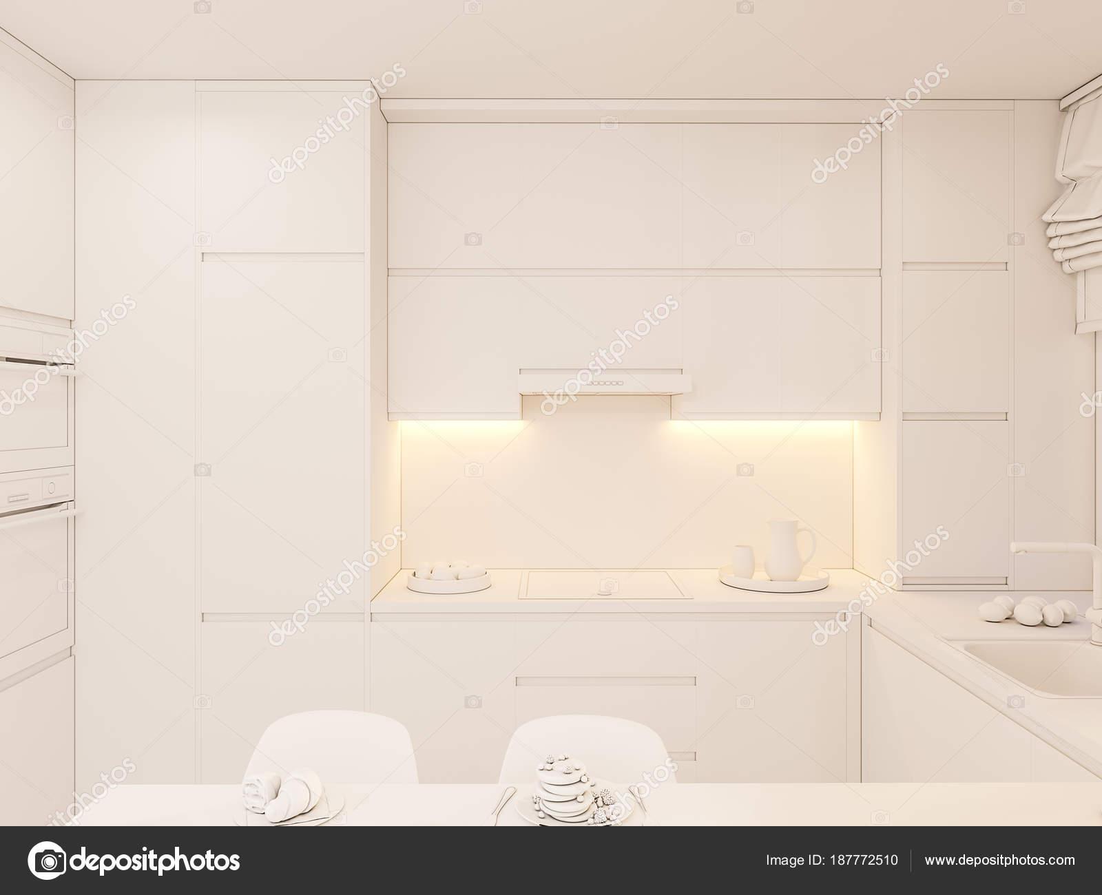 D illustratie keuken interieur in witte kleur u stockfoto