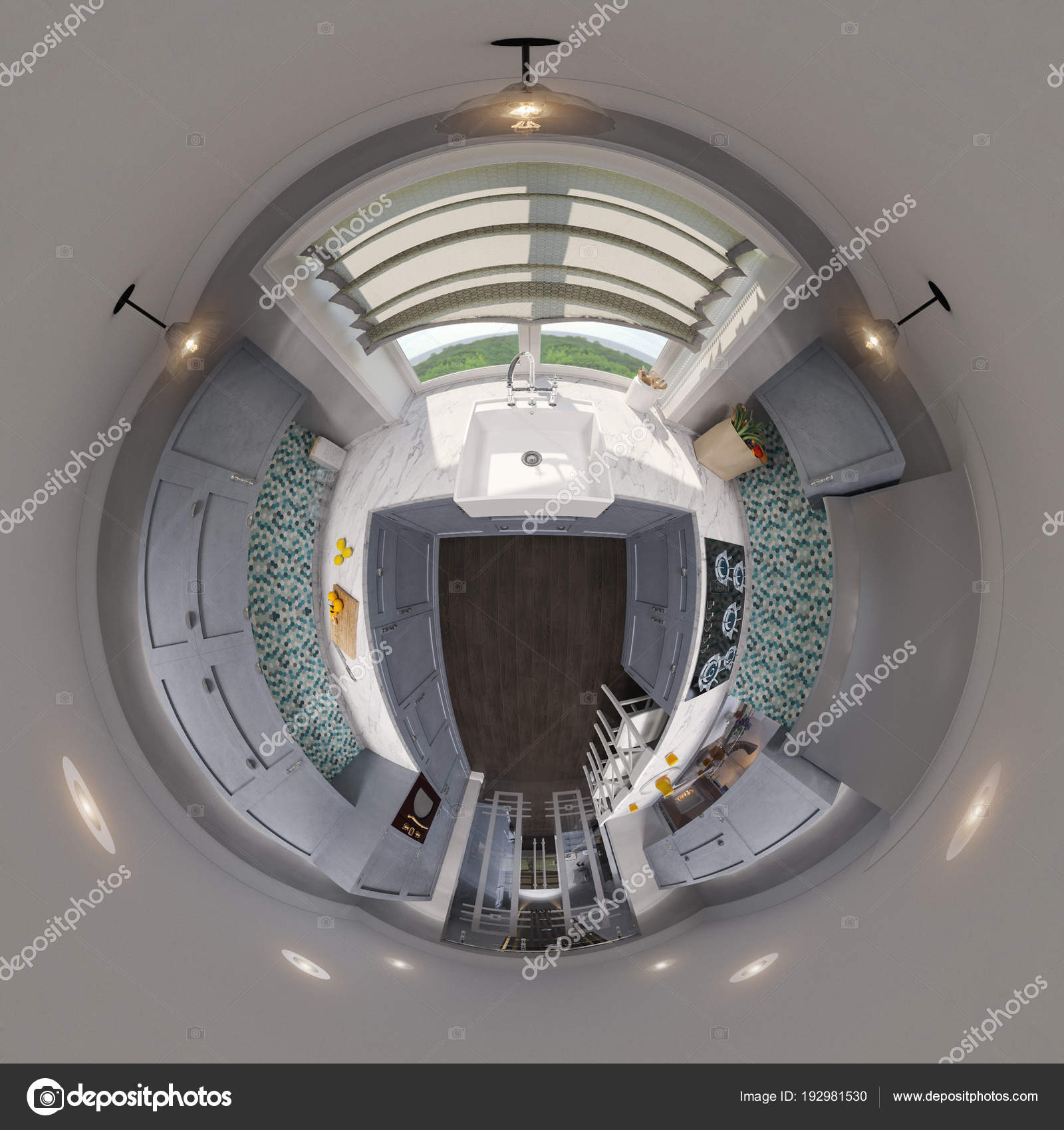 Admirable 3D Illustration 360 Seamless Panorama Of Kitchen Design Interior Design Ideas Clesiryabchikinfo