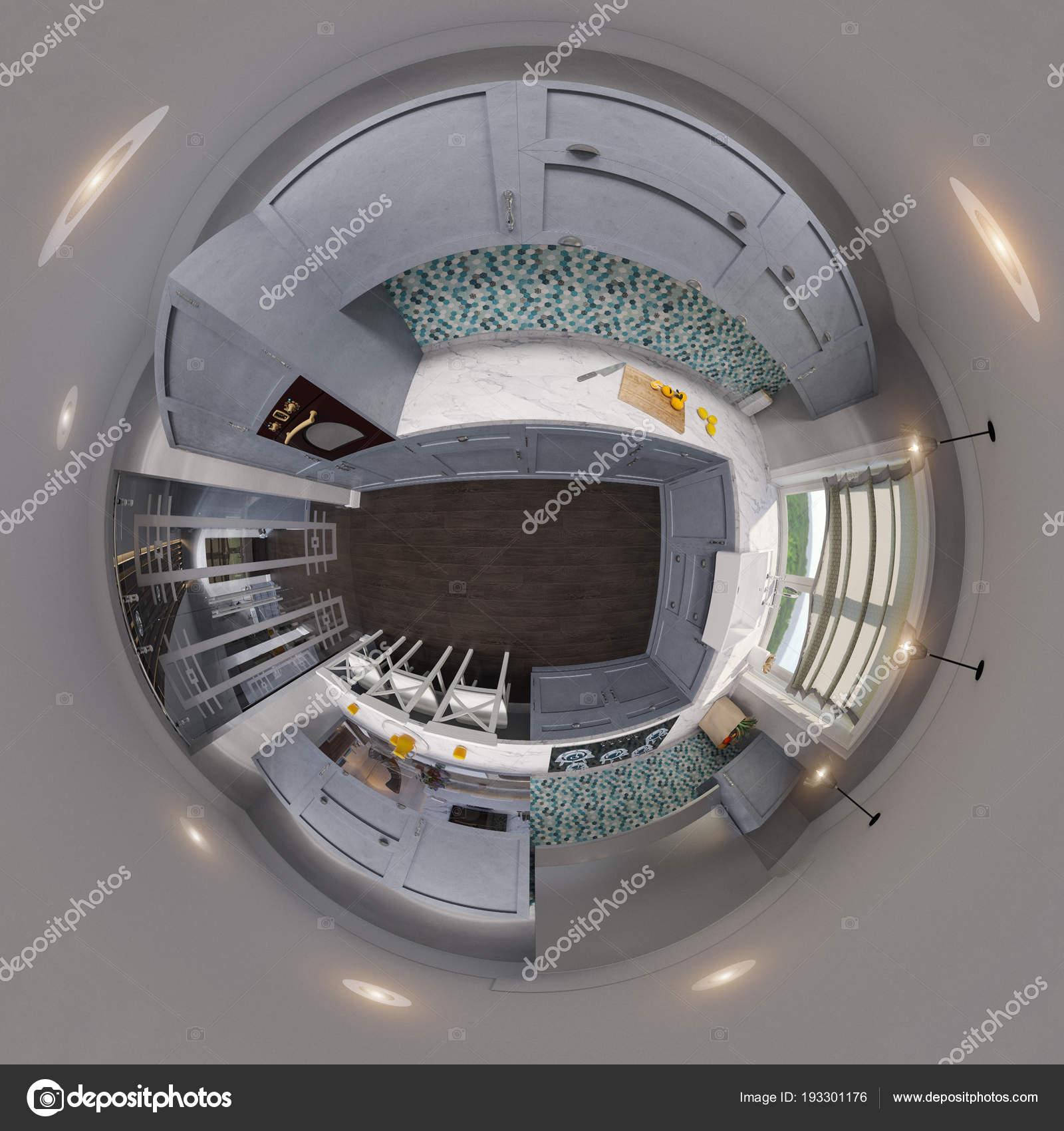 3d Abbildung Spharische 360 Nahtlose Kuche Panorama Stockfoto