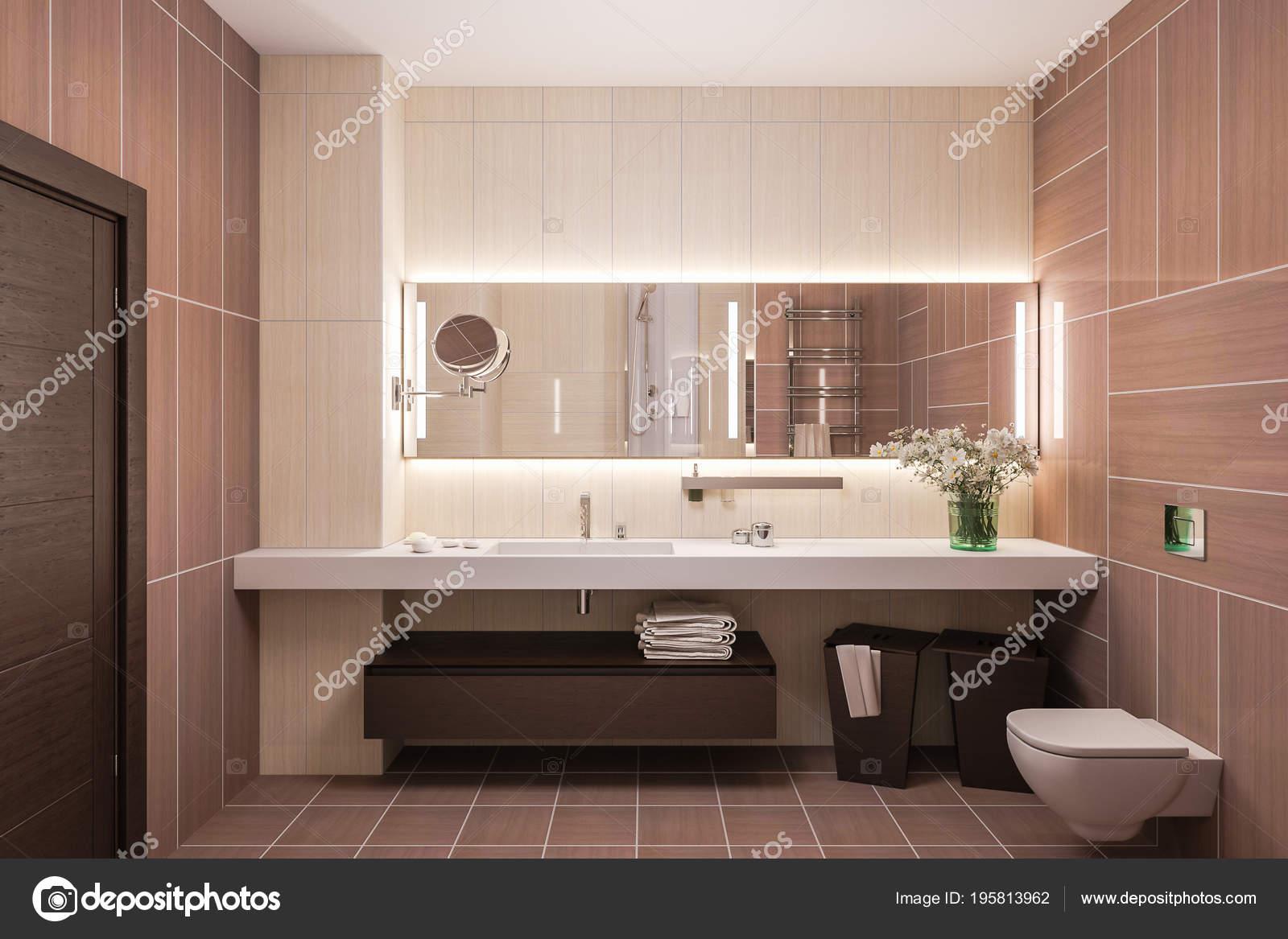 3D render interior diseño de baño moderno con un gran espejo — Fotos ...