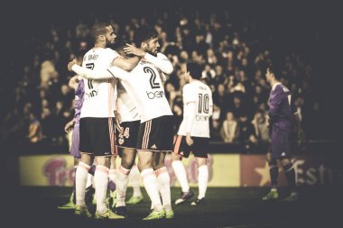 Valencia players celebrate the victory