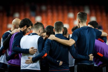 VALENCIA, SPAIN - JANUARY 17, 2018: Various players during Spanish King Cup match between Valencia CF and Alaves at Mestalla Stadium on january 17, valencia