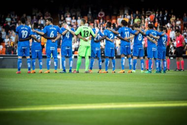VALENCIA, SPAIN - APRIL 18: Getafe players during Spanish La Liga match between Valencia CF and Getafe CF at Mestalla Stadium on April 18, 2018 in Valencia, Spain