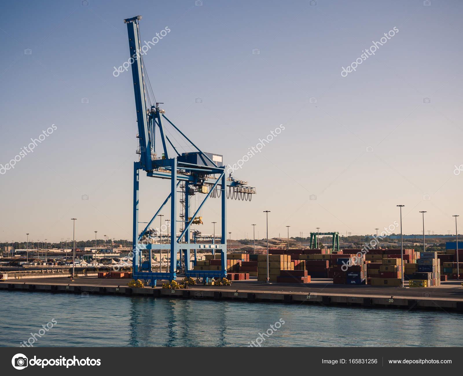 Shipping industrial trade port  Crane bridge and import