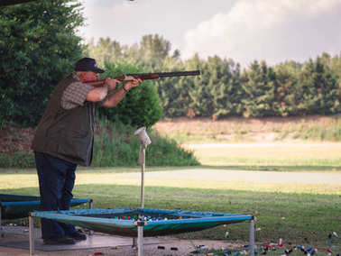 Competition of clay pigeon shooting.