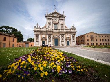 Facade of the Basilica of Santa Maria in Porto in Ravenna, Italy.