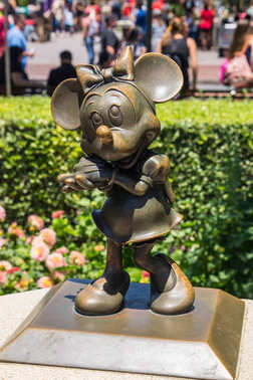 Disneyland Park, Anaheim, California, USA. Bronze sculpture of Minnie Mouse