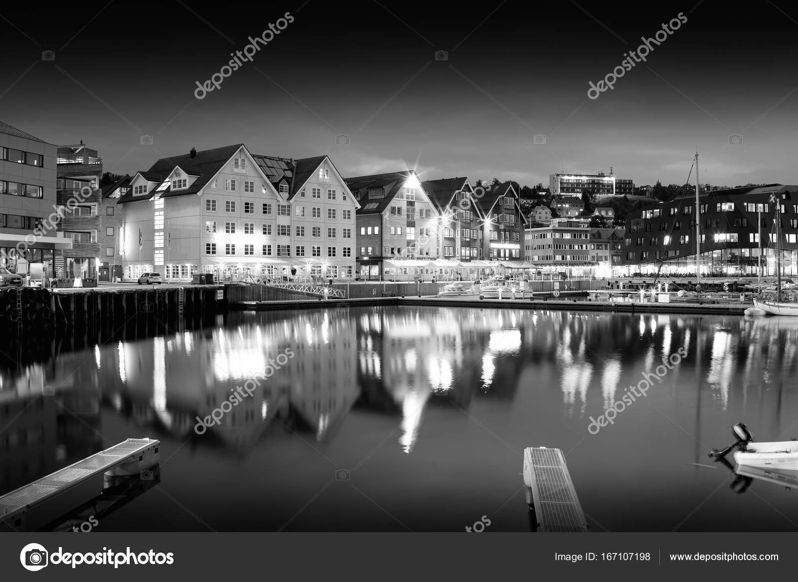 Tromso Night Black And White City Background Stock Photo