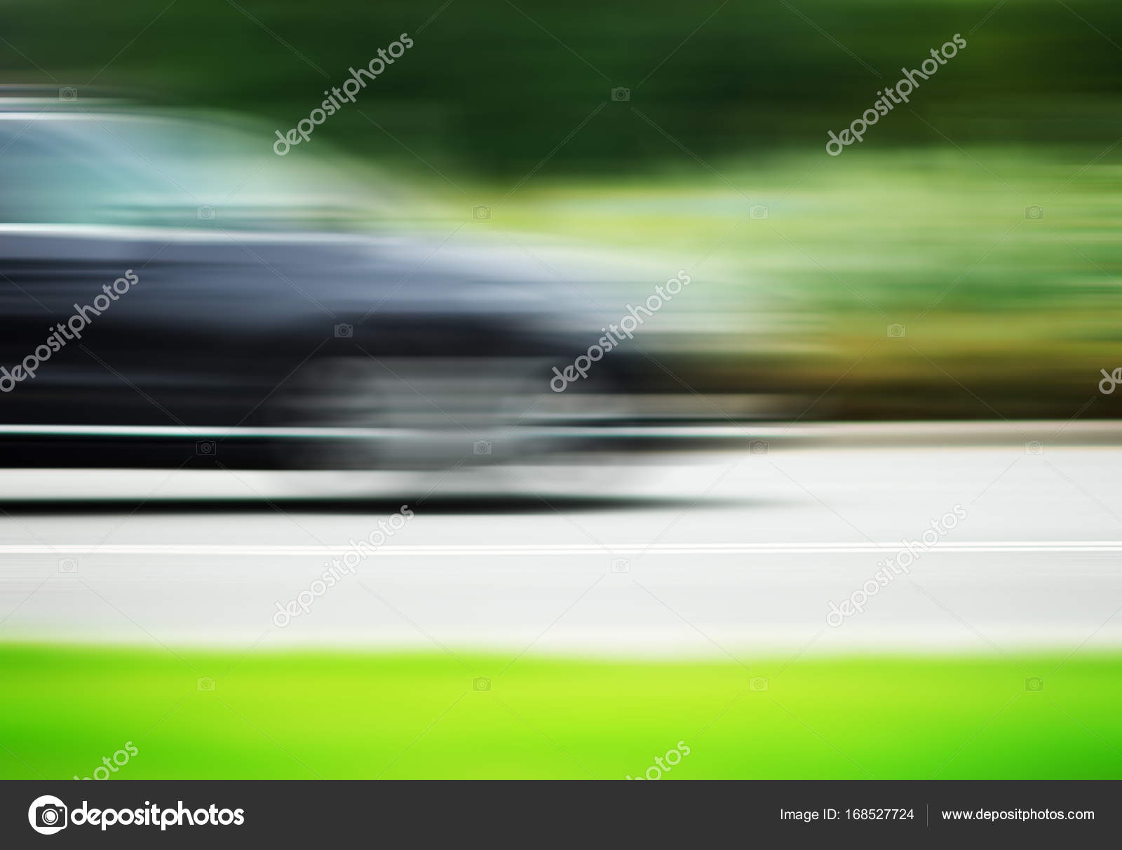 Horizontal Car On Road Motion Blur Background Stock Photo