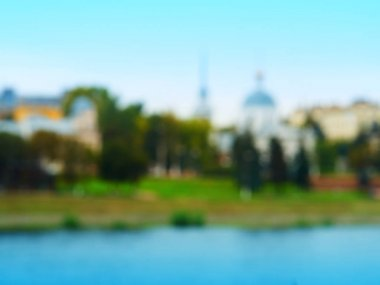 Dramatic buildings on river architecture bokeh background