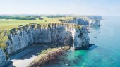 View from above to the bay and alabaster cliff  bay of Etretat,