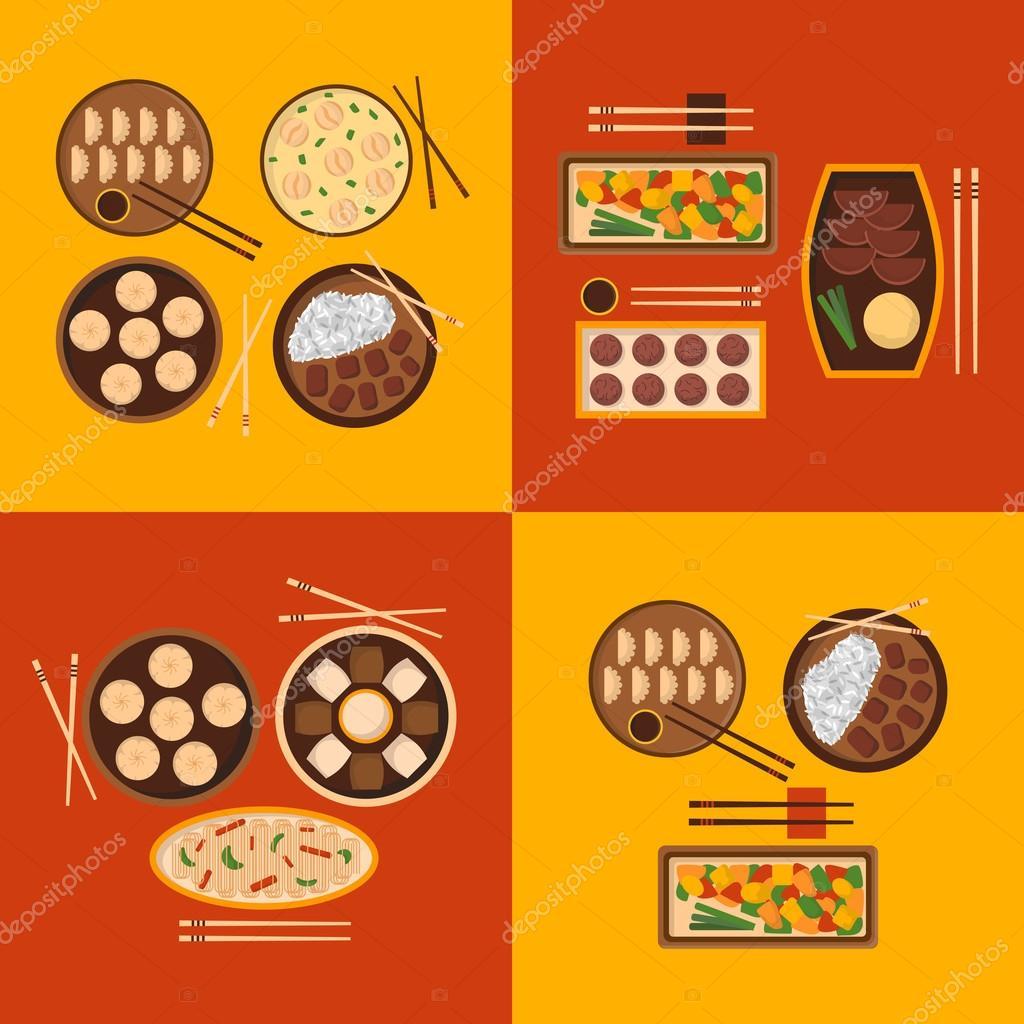 Vector cartoon chinese cuisine food — Stock Vector