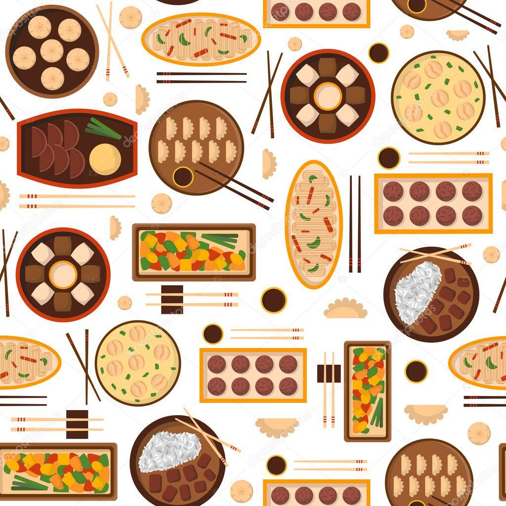 Vector Cartoon chinesische Küche Essen Hintergrund — Stockvektor ...