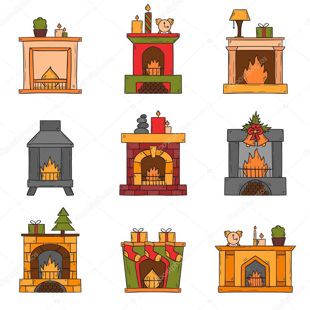 Dibujos Chimeneas De Navidad.Chimenea Navidena Dibujo Conjunto De Iconos De Vector De