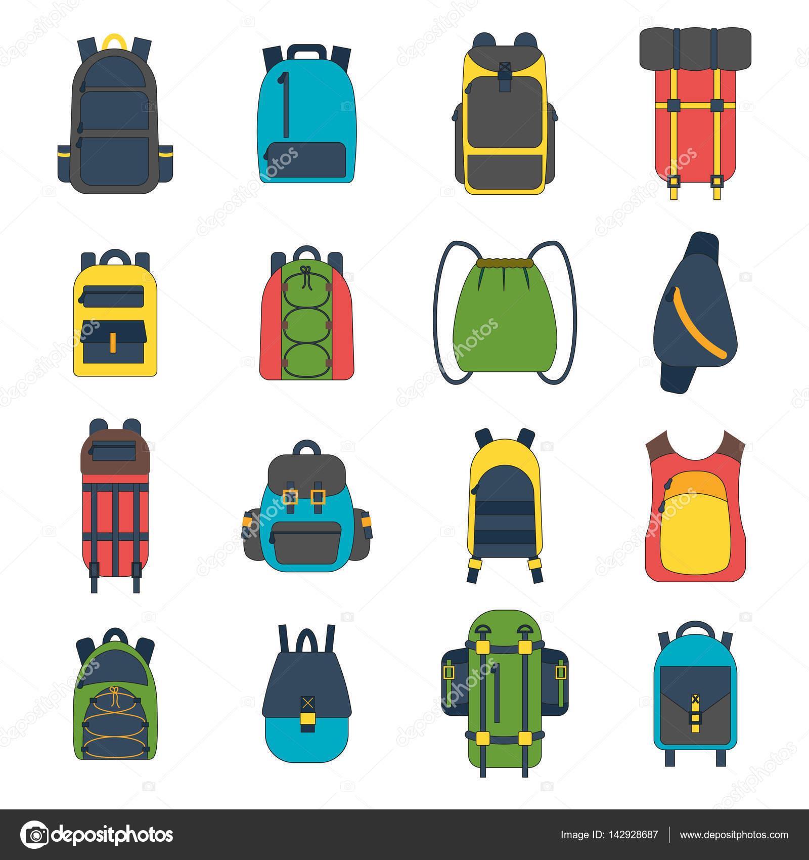 d4c52b8be3 Εικονογράφηση διάνυσμα καρτούν επίπεδη σακίδιο και αθλητισμού βαλίτσα.  Backpack σχολείο επίπεδη. Ορεινό τουριστικό εξοπλισμό. Πεζοπορία