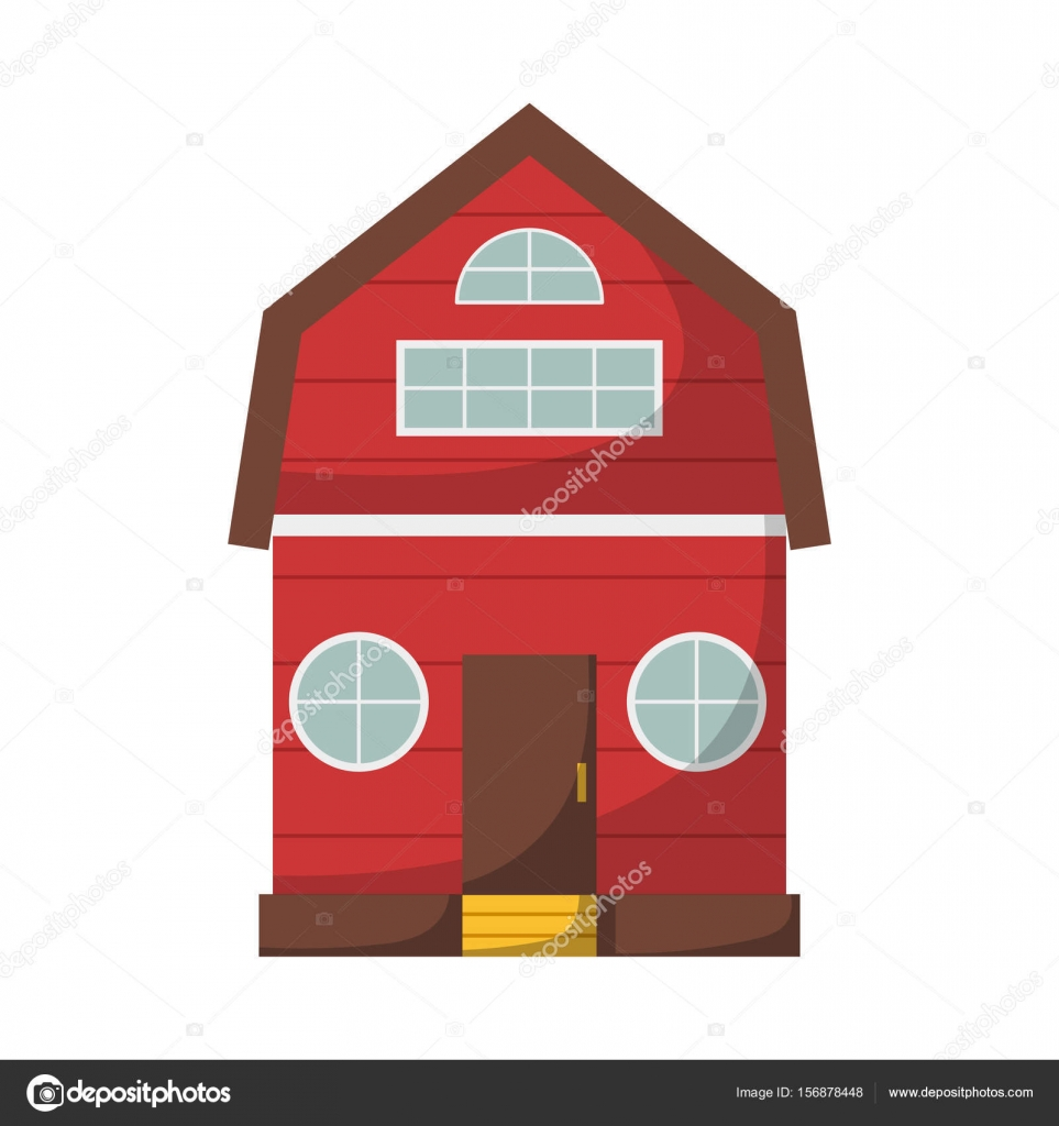 Vector Illustration With Cartoon Isolated Farm House On White Background Red Country Icon Farmhouse For Organic Design