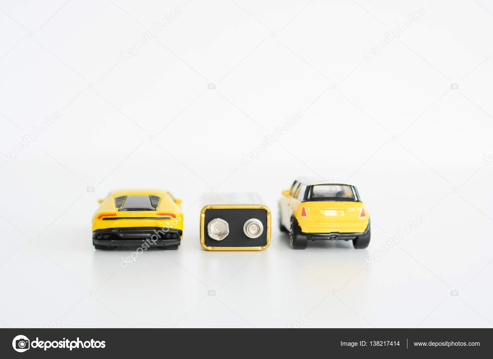Electric Cars Concept With Toys Vehicles On White Background Stock