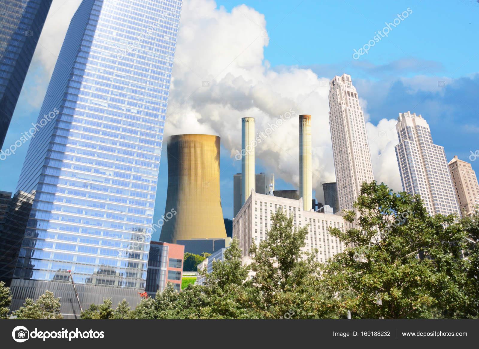Inquinamento Sopra New York Astratta Immagine Composita — Foto Stock ...