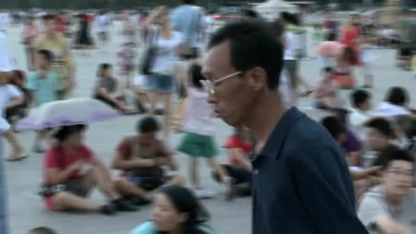 Many people on street city of Tiananmen Square.