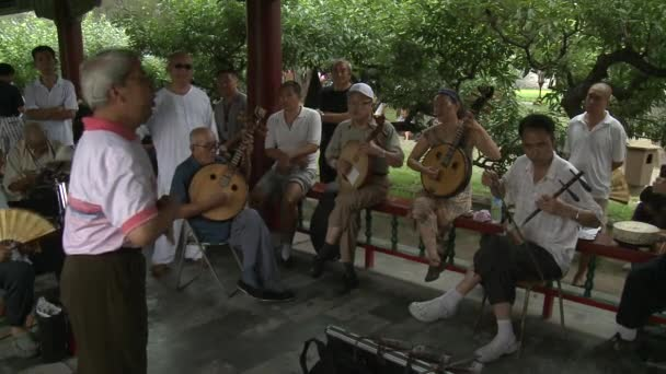 Musicians on streets of city in park.
