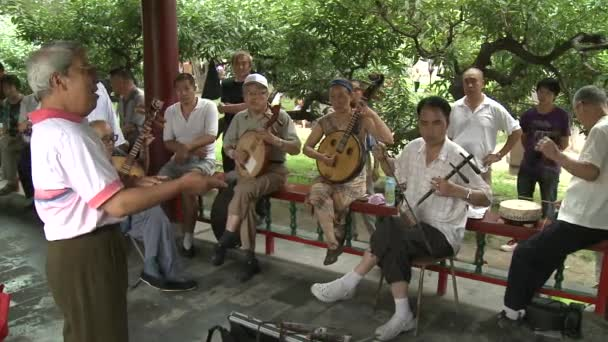 Musicians played on national instruments on streets of city in park.