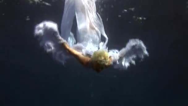 Underwater Model In Angel Costume Poses For Camera The Red Sea Stock Video