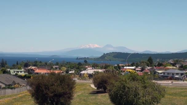Krajina snow mountain panoramatický pohled z vrtulníku okna na Novém Zélandu