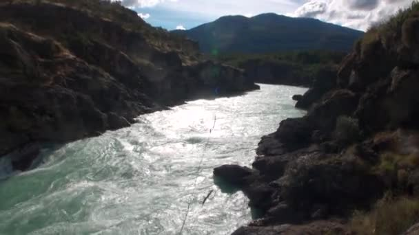 Mountain river show power water in Patagonia Argentina.