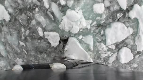 Ledu, sekání hnutí ledoborec pohled z přídě lodi v oceánu Antarktidy