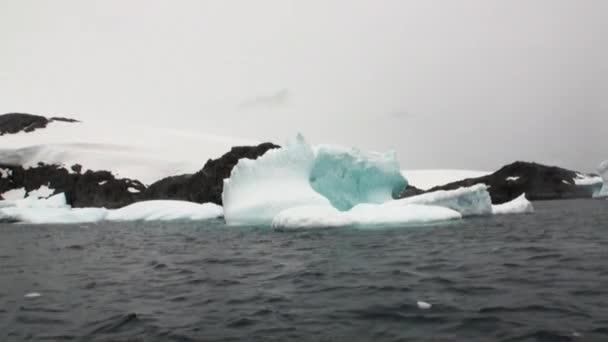Eisgletscher Eisberg und Schneeküste im Ozean der Antarktis.