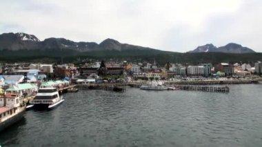 Port pier of Ushuaia on Tierra del Fuego in Argentina.