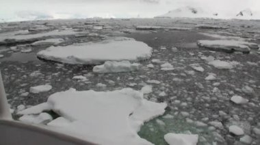 Ice movement and snow coastline view from ship in ocean of Antarctica.