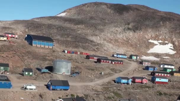 Houses in the mountains of Greenland in the Arctic Ocean.