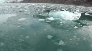 Moving Ice Floes of Arctic Ocean in Svalbard.