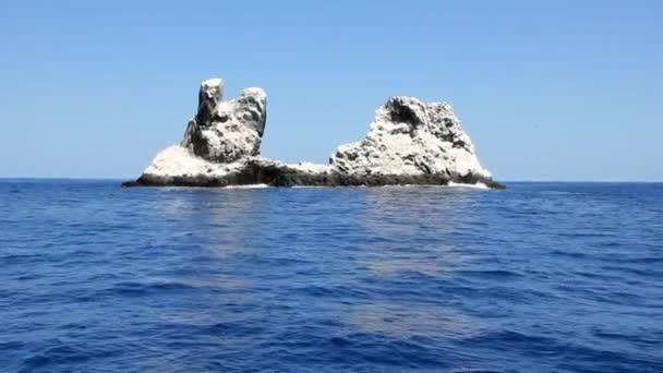 Birds on rock in middle of ocean in Pacific ocean.