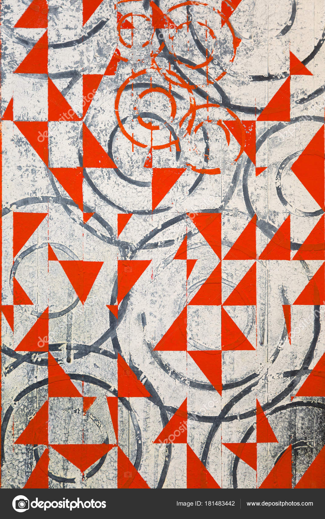 Abstract Painting Art With Red And Black Geometric Shapes