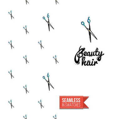beauty hair  lettering, background, vector illustration.