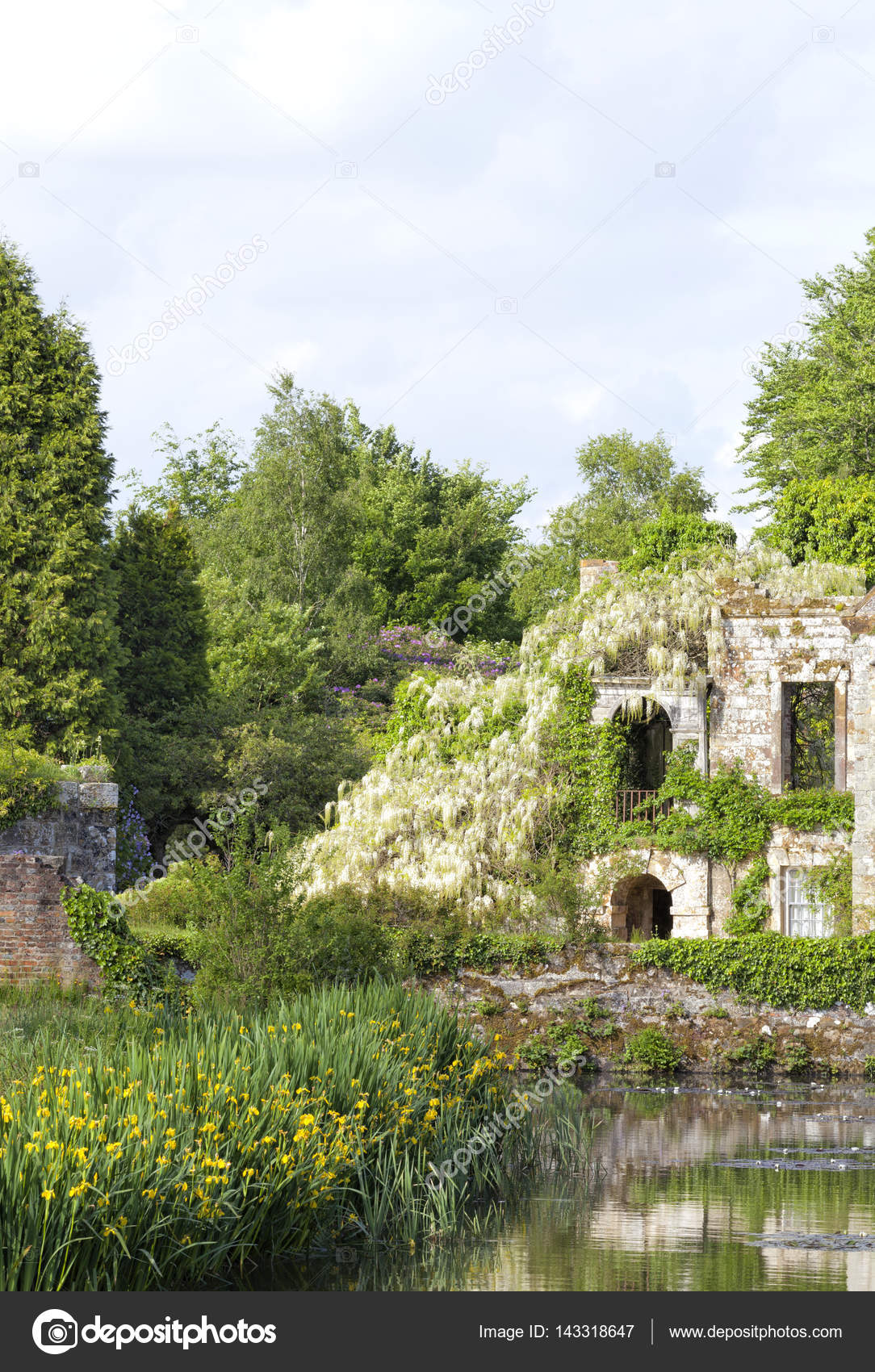 Jardin D Ete Avec Des Plantes A Fleurs Arbres Pres D Un Lac