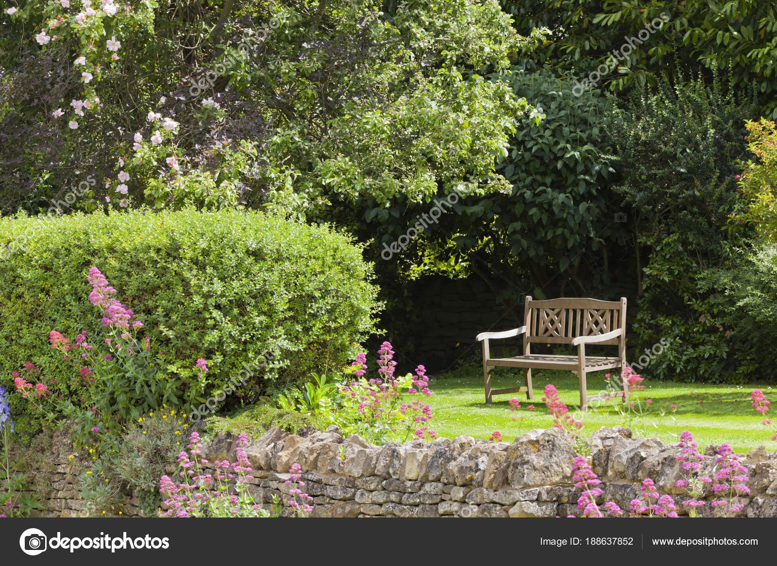 Banc Bois Isolée Dans Jardin Anglais Avec Fleurs Cottage Rosier