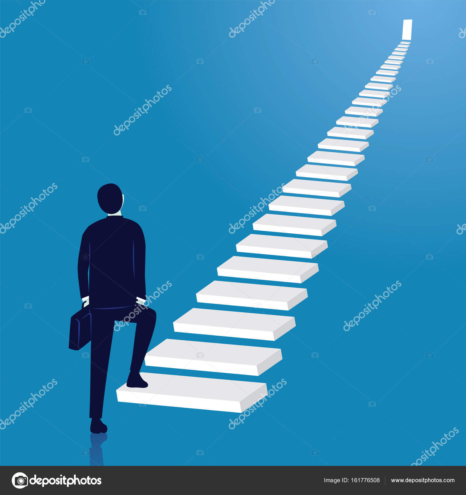 Businessman climb success ladder. Open door on top — Stock Vector ... for Climbing Stairs To Success  181obs