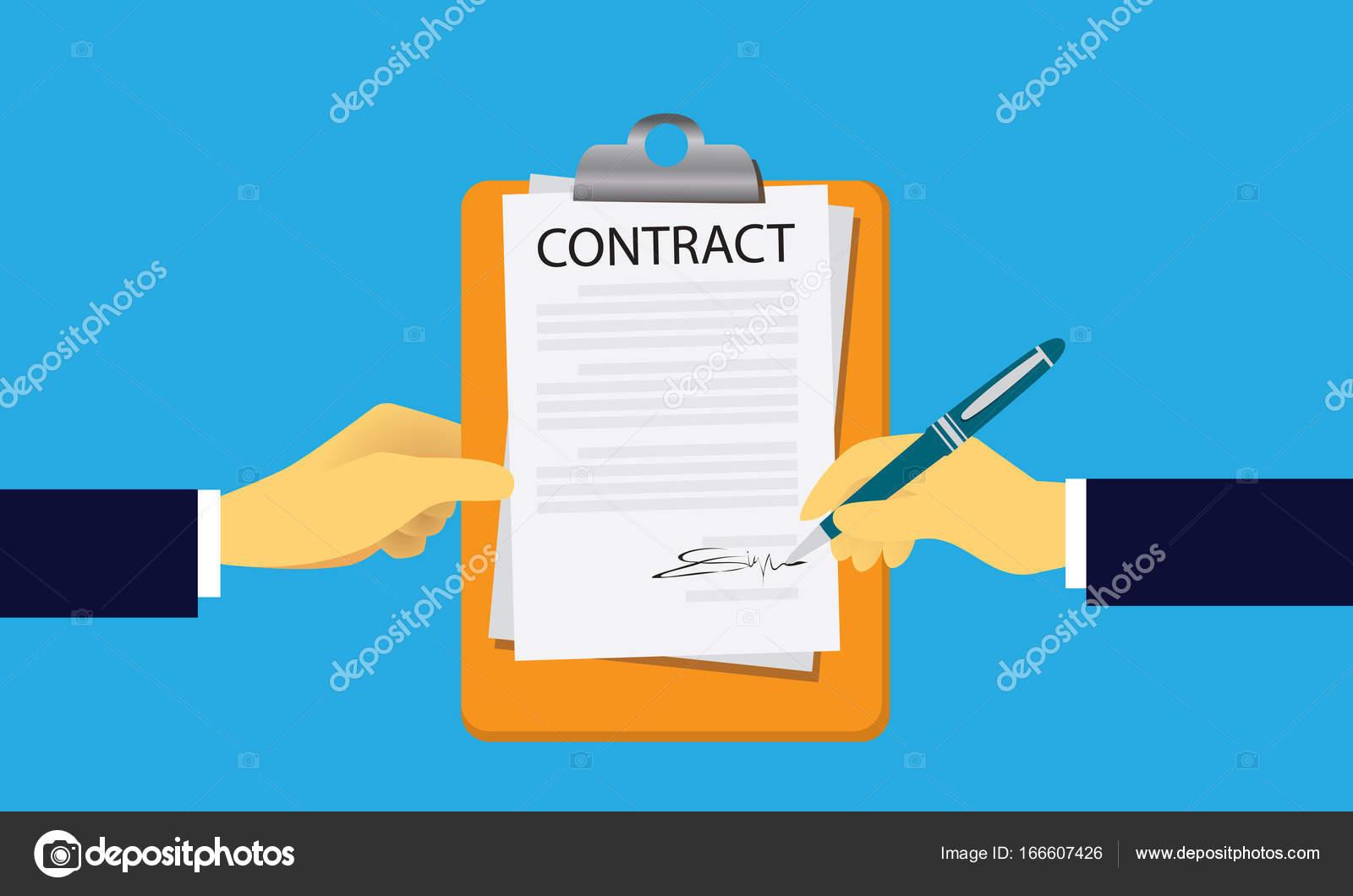 Concepto de firma del acuerdo Legal del contrato. Ilustración de ...