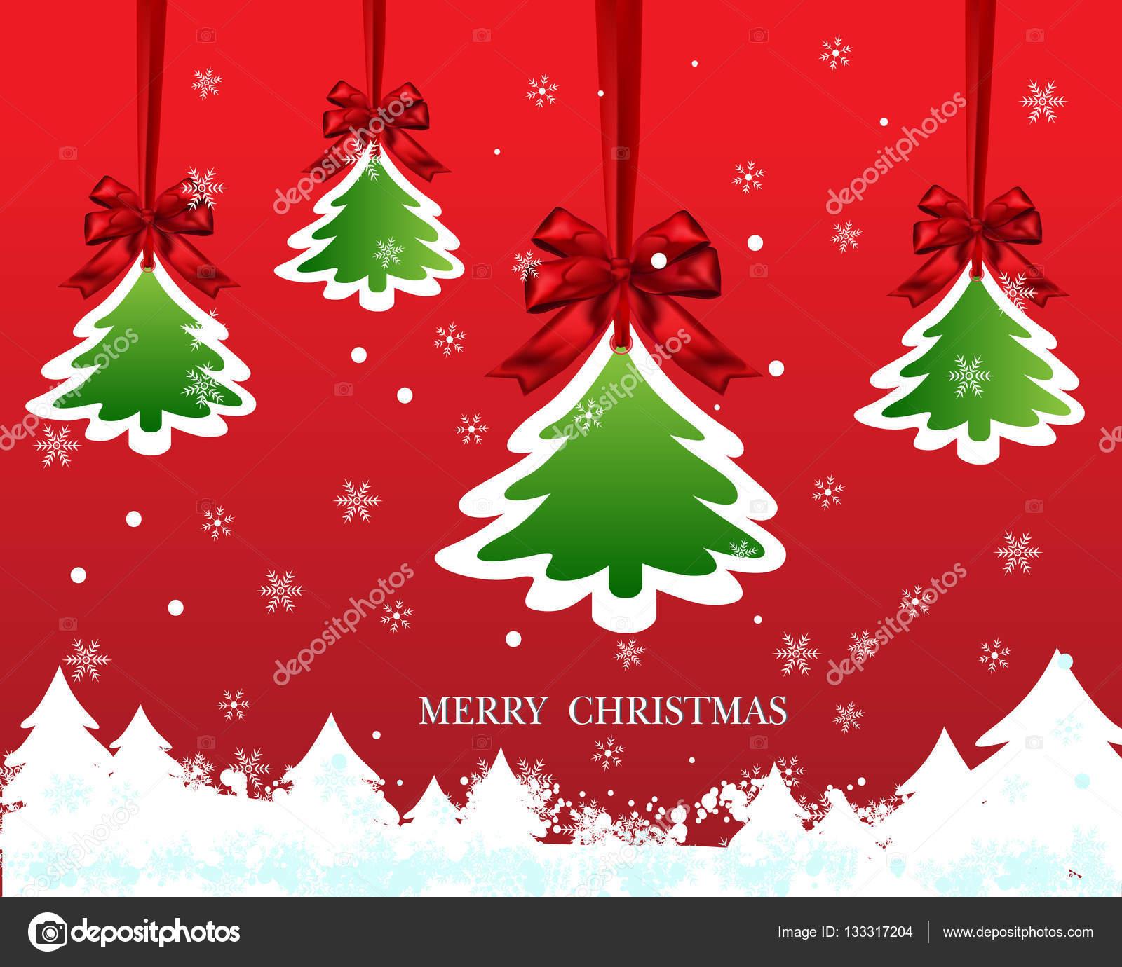 Tarjeta de papel de navidad con colgante rbol y cinta del - Cinta arbol navidad ...