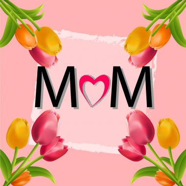 Mother's day colorful tulips flower background.