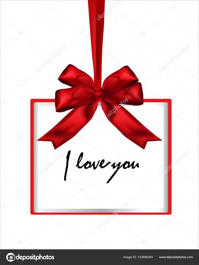 Ich liebe dich, rote Vektor-Geschenk-Box-Rahmen mit Bogen ...